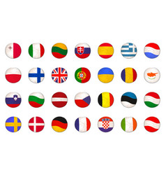 set with eu flags made as badges vector image