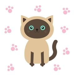 Siamese cat in flat design style Cute cartoon vector