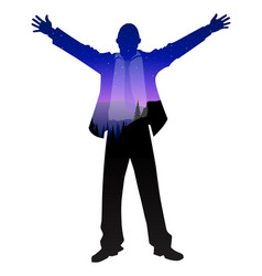 Silhouette businessman open arms vector