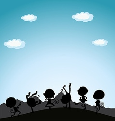 Silhouette monkeys playing on hill vector