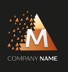 Silver letter m logo symbol in the triangle shape vector