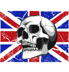 skull with a england flag in background vector image