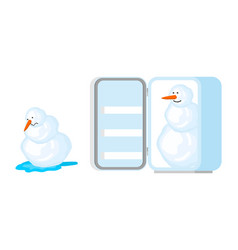 snowman melts and snowman in fridge snow rescue vector image