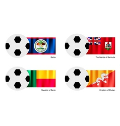 Soccer Ball with Belize Bermuda Benin flag vector image