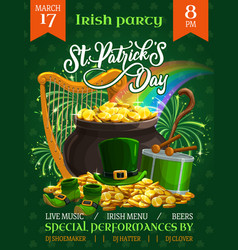 St patricks day party flyer cartoon poster vector