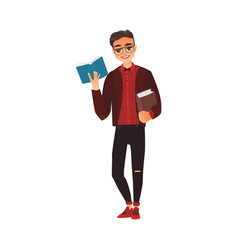Student young man in glasses reading a book vector