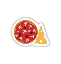 Stylish paper sticker pizza with cheese and vector