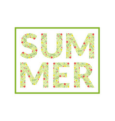summer word made leaves and flowers pattern vector image