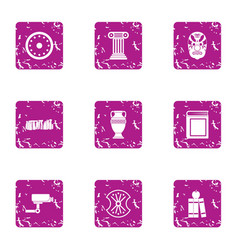 Supervision of museum icons set grunge style vector