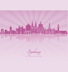 sydney v3 skyline in purple radiant orchid vector image