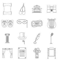 Theater icons set outline style vector