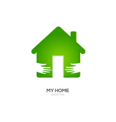 Two hands hug green house vector