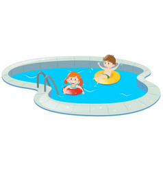 Two kids in swimming pool vector