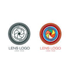 Two variants of photo camera lens logo template vector