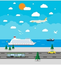 Various types of transport vector image