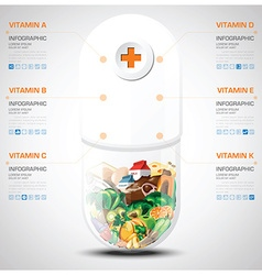 Vitamin And Nutrition Food With Pill Capsule Chart vector image