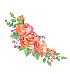 watercolor flowers wreath on white background vector image