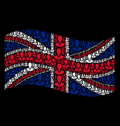 waving british flag collage of manager items vector image