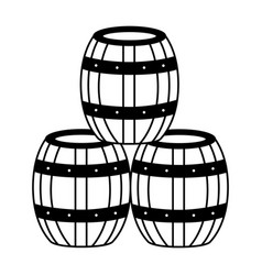 wine wooden barrels vector image