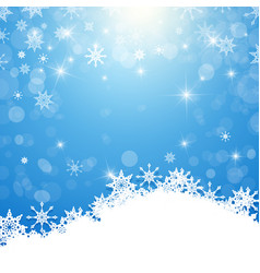 winter background - white snowflakes on blue vector image