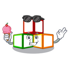 With ice cream toy blocks cube blank cartoon vector