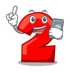With phone cartoon paper number two on letter vector