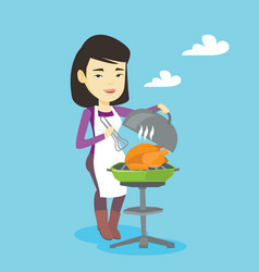 woman cooking chicken on barbecue grill vector image