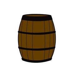 wooden barrel for wine with steel ring vector image
