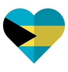 Bahamas flat heart flag vector image