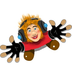 Cheerful Redhaired DJ vector image vector image