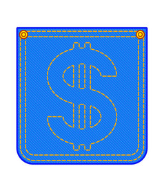 denim pocket with dollar symbol vector image
