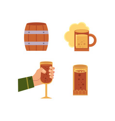 flat beer symbols set isolated vector image vector image