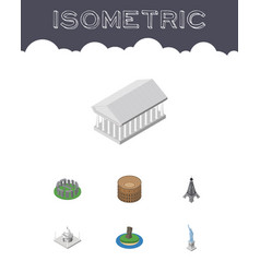 isometric attraction set of england paris vector image vector image