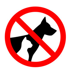 prohibition sign stop pet dog and cat simple vector image