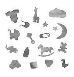 baby stuff watercolor design elements vector image vector image