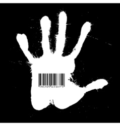 Barcode on the Handprint vector image