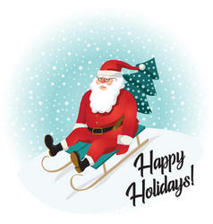 funny santa claus sledding with mountains vector image vector image