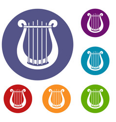 harp icons set vector image vector image
