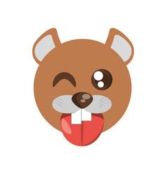 Kawaii face beaver animal fun vector