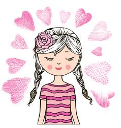 loving cute little girl vector image vector image