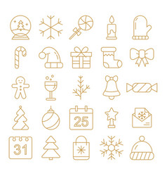 new year icons christmas party elements new year vector image vector image