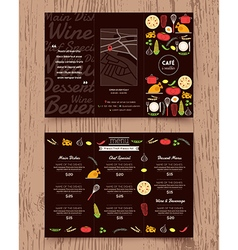 Restaurant menu design pamphlet template vector image