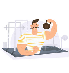 strongman weight lifter holding weights in gym vector image