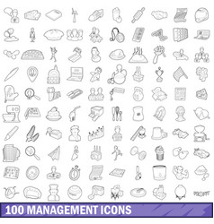 100 management icons set outline style vector image