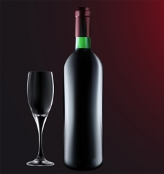 bottle of wine with glass vector image vector image
