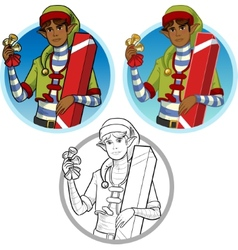 Christmas elf African American boy with gift set vector image vector image