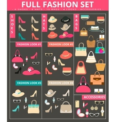 Full womens fashion collection of bags shoes hats vector image