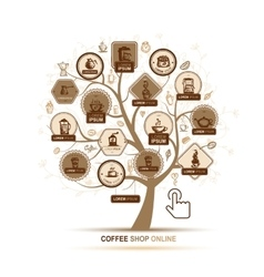 Infographic concept - tree with coffee icons for vector image vector image