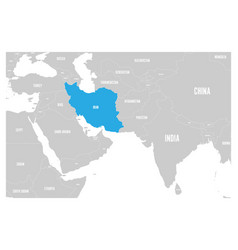 iran blue marked in political map of south asia vector image vector image