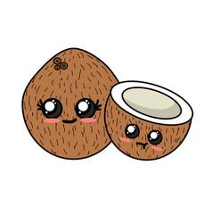 kawaii cute tender coconuts fruit vector image